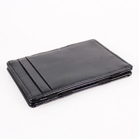 Wholesale Black Magic Leather Bag Magic Wallet Credit Business Card Ticket Cash Holder Purse