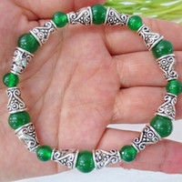 Wholesale friend gift new design Malay Jade Horn silver bracelet with many color