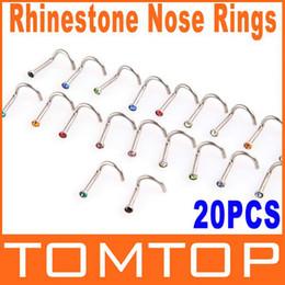 5sets / lot, 20pcs / set Красочный нержавеющей стали Rhinestone изогнутый нос Коты Кольца тела Piercing Ювелирные изделия H8824