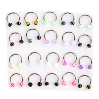 Nose balls nose - 20pcs set Colorful Stainless Steel Ball Barbell Curved Nose Studs Rings Body Piercing Jewelry H8825