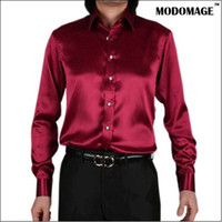 Wholesale New Men s shiny silk shirt color XS XXXL