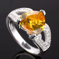 Solitaire Ring Women's Anniversary Lady Heart 10X10 Natural Citrine Nat Real S925 Sterling Silver Ring R007
