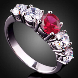 Womens Round 6Mm Simulated Red Ruby Nal Authentic S925 Sterling Silver Ring R019