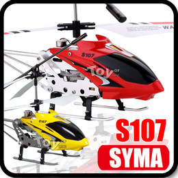 Wholesale 100 Original Retail Box SYMA S107 S107G Gyro CH Metal Infrared Remote Electric Control Mini Micro LED Lights RC Helicopter Heli Toys RTF