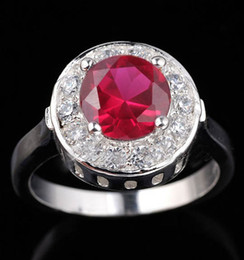 Womens Round Cut Simulated Red Ruby Nal Real .925 Sterling Silver Ring R022