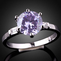tanzanite ring - Womens Round Mm Simulated Light Amethyst Nal Authentic Sterling Silver Ring R017