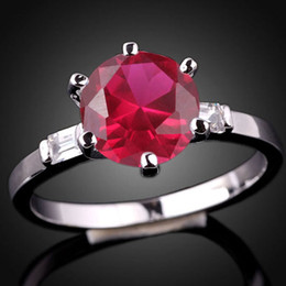 Lady Round 8Mm Simulated Red Ruby Nal Genuine 925 Sterling Silver Ring R017