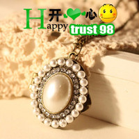 Wholesale vintage pearl Necklace cryatal Locket box Pendants eternity hot charms Gift cheap fashion jewelry