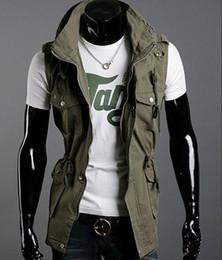 Wholesale Black Gray Army Green Slim Fit Sleeveless Many Pockets Jacket Fashion Men s Jackets Outwear Cotton