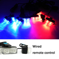 Wholesale Car Strobe Lights x2 LED Flash Warning Police Firemen Auto Grille Light HS1130 Red And Blue