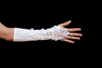 Wholesale Newest Gorgeous exquisite Fashion ivory Applique Bridal Accessories Bridal Gloves Wedding Gloves
