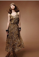 Spaghetti Ankle Length Ball Gown Extra long Sling Leopard Dresses Casual Style ancient pleat Vest skirt attract free size