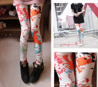 Wholesale 2012 new Korean Women fashion Slim ink color printing and dyeing leggings pantyhose feet pants