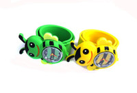 Fashion auto rewind - Colorful Candy Jelly Watches Silicone Snap Slap Sport Watch Bee Bees Auto Rewind Watchband