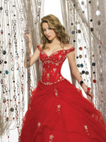 Red Ball Gown Off- the- shoulder Floor length Beaded Fold Appl...