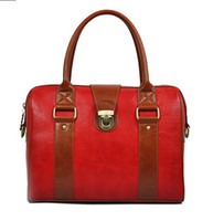 Wholesale Red Vintage Big Guten Bag PU Handbag for Women Boston Barrels Shoulder Bags Travel Shopper