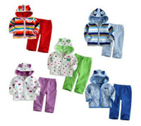 Wholesale Children suit autumn and winter animal style bear fleece suit hot cotton long top long pant baby