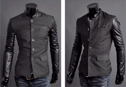 Wholesale Men business suit Men fashion casual leather sleeve jacket coat blazers color