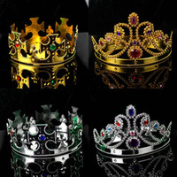 Wholesale Cosplay King Crown Queen crown Plastic Gold Silver Diamond Halloween Prop masquerade Party costumes Novelty Wedding party gift