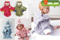 Wholesale Animal Baby hooded bathrobe baby bath towel bath terry children infant bathing robe AQT0008
