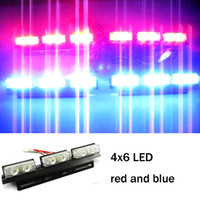 Wholesale Car Strobe Lights x6 LED Flash Warning Police Firemen Auto Grille Light A64H Red And Blue