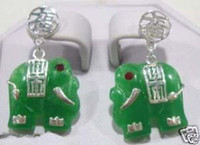 China-Miao Women's Party CHARM GREEN JADE ELEPHANT EARRING