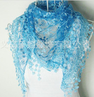 Wholesale WF women s New lace sequins Hollow scarf Roses Triangle scarf shawl