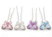 Wholesale Women s jewelry Rhinestone Flower Butterfly Hair Clasp Hair Fork mix color