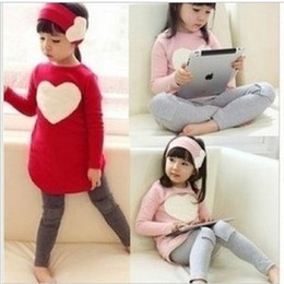 Wholesale Girl s Love Pattern Autumn Casual Outfits Cute Headband Long T shirt Leggings Pieces Sweet Suits