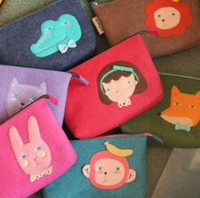 Wholesale Large Size cartoon design felt beauty bag case storage bag FreeShipping Design
