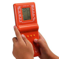 Wholesale Hot package in the mail nostalgic handheld game small machine tetris game