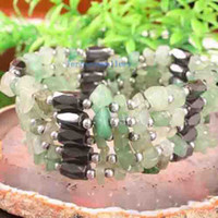 Wholesale Stunning Magnetic Hematite Unakite Chip Beads Green Jade Bracelet AA MM inch Jewelry Free Ship