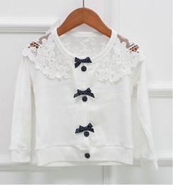 Wholesale NEW hot coat children long sleeve bowknot button cardigan kids lace coat girls garment