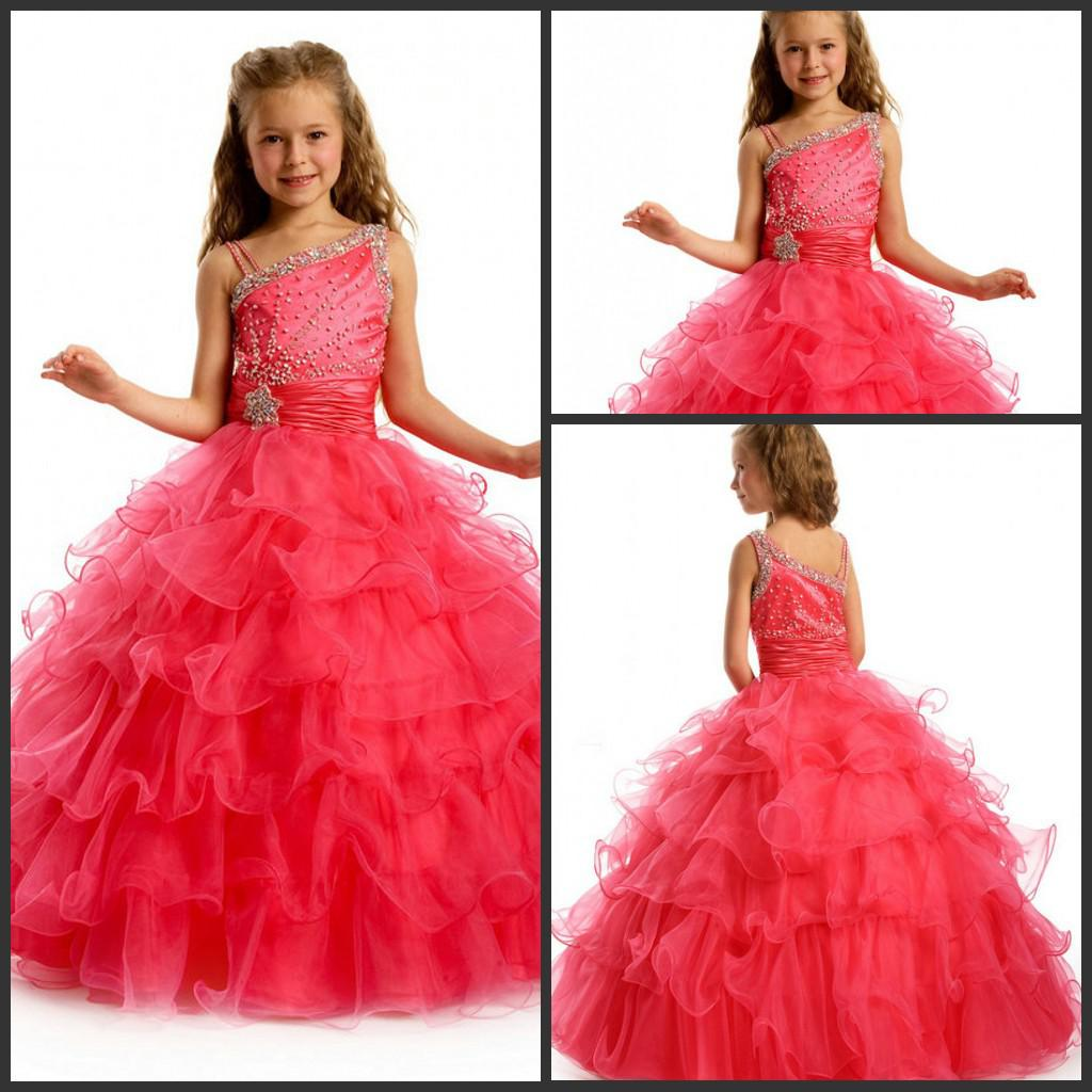 Cute Asymmetrical Neckline Pink Princess Flower Girl Dresses ...