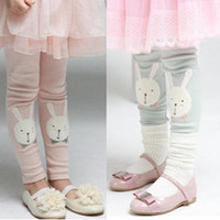 Wholesale Girls cute cartoon stickers cloth bunny leggings girls pants feet children trousers