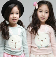 Wholesale Children s T shirts girls cute cartoon embroidered bunny long sleeved T shirt Kids bottoming shirt