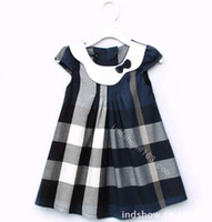 Wholesale New style tartan girls dresscake dress wedding dress ruffle blue
