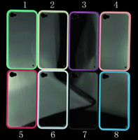 Wholesale For iphone S Transparent Clear Back TPU Bumper Frame Plastic Hard Cover Case iphone4
