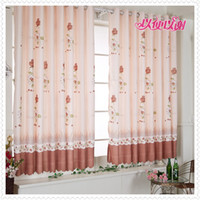 Wholesale 2 panels Printed orange rose Window Curtains