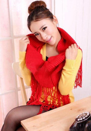 Wholesale Newest women tassels scarf collar temperament crochet wraps shawl knitting wool scarves colors