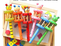Wholesale Children rattles Cute Wooden rattles toys baby cartoon animals bell rattle Wooden Bell Rang