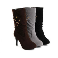Half Boots Knight Boots Women 2012 winter new Fashion Metal edge Solid color All-match Suede