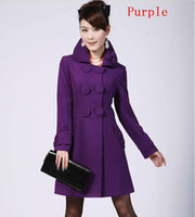 Wholesale New Style Spring Autumn Women Fashion Lapel Woolen Coats Ladies Vogue Double Breasted Middle Long Overcoat Girls Lovely Flowers Slim Surcoat