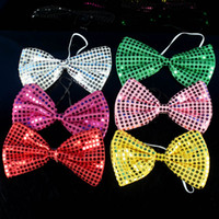 Wholesale Carnival Party Ties colorful sequined big butterfly bow tie novlety party gift clown bow tie mix color