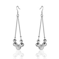 Silver Mexican Women's 925 Silver Simple Ball Pendant Dangle Earrings Jewelry t43e Women's Earring 15pcs