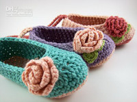 Wholesale Crochet baby flower ballet shoes handmade infant booties toddler shoes M cotton custom