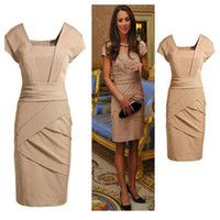 Wholesale New dress British princess Kate OL commuter cultivate body black bare dress S M L XL C01052