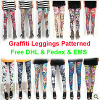 Wholesale Leggings Womens Graffiti Legging Patterned tights Legging Big Size Mix Oder Free DHL Fedex EMS