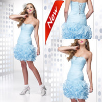 Wholesale Sexy Close fitting Pick up Hem Mini Lace up Ruffles Light blue Cocktail Dresses Short Party Dress