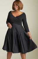 Wholesale Plus Size Prom Dresses V neck Sleeves Knee Length Pleated Ruffles Taffeta Cocktail Party Gowns